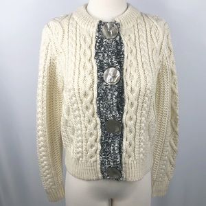 Anthropologie One Girl Who Chunky Knit Cardigan M
